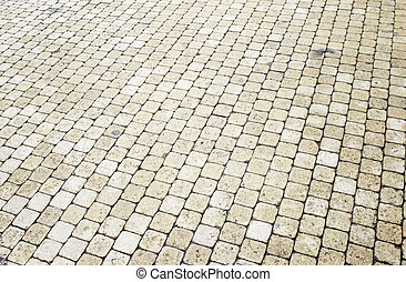 Urban yellow brick - Urban yellow tiles in city street,...