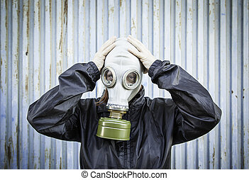 Scared woman gas - Woman with hooded gas mask, fear...