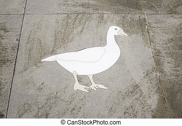 Goose in tile - Goose in urban street tile, construction and...