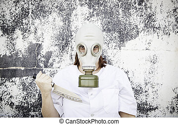 Girl threatens gas mask - Gas mask girl with knife, danger...