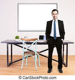 Man in office with whiteboard - Businessman in moder office...