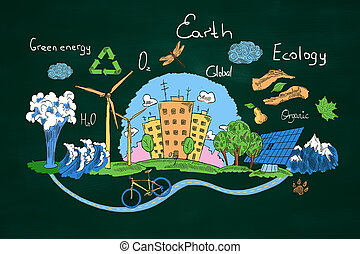 Green earth concept - Creative sketch of natural healthy...
