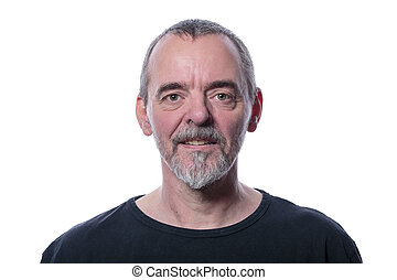 smiling man with beard, isolated on white