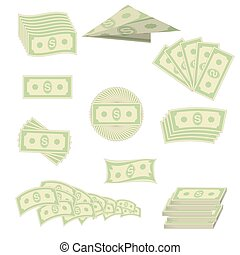 American Banknotes. Cash Money. US Currency - Set of Paper...