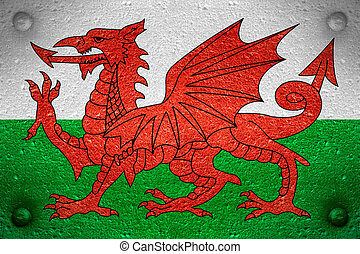 flag of Wales or Welsh banner on steel background