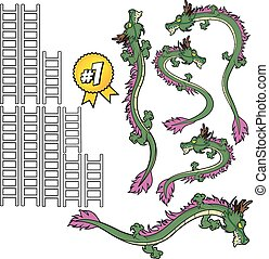 Green Dragon and Ladder Set for board game