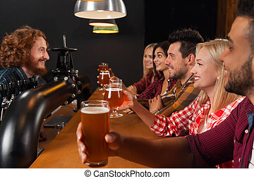 Young People Group In Bar, Hold Beer Glasses, Friends...