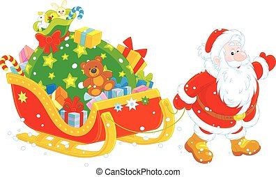 Santa with gifts - Vector illustration of Santa Claus...