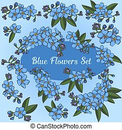 Blue Flowers Vector Set
