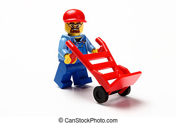 toy man whit hand truck d - toy man whit hand truck on white...