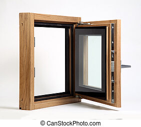 wooden window open on a white background