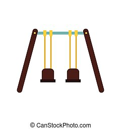 Playground swings icon, flat style - icon in flat style on a...