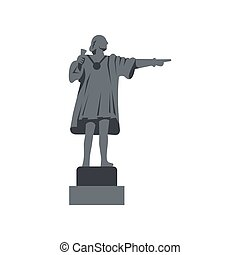 Christopher Columbus Statue icon, flat style - icon in flat...