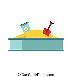 Sandbox icon in flat style - icon in flat style on a white...