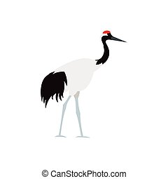 Japanese crane icon, flat style - icon in flat style on a...
