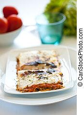 savoureux, plaque, végétal, lasagne