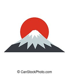 The sacred mountain of Fuji, Japan icon flat style
