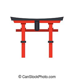 Japan gate icon, flat style - icon in flat style on a white...