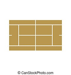 Tennis court icon, flat style - icon in flat style on a...