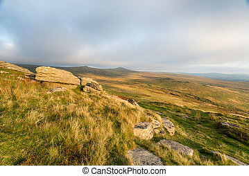 Dartmoor from Brat Tor - Evening light from Brat Tor near...