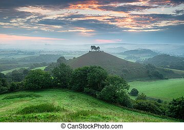 Colmers Hill in Dorset - A stormy sunrise over Colmers Hill...