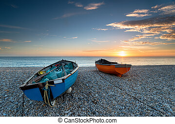 Sunset on Chesil Beach - Beautiful sunset over fishing boats...