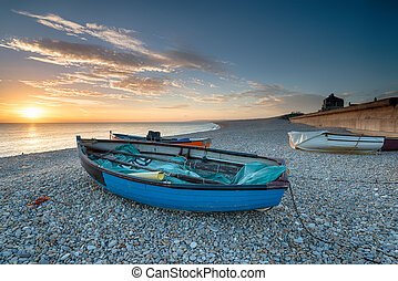 Boats on the Beach in Portland - Boats on the beach at...