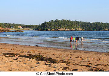 People along the shore at New River Beach - People with...