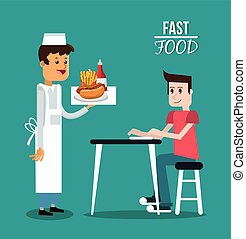 Man waiter and fast food design