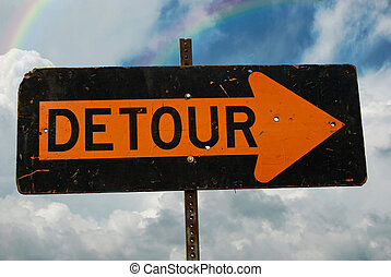 Detour Sign - Detour sign with double rainbow in the sky.