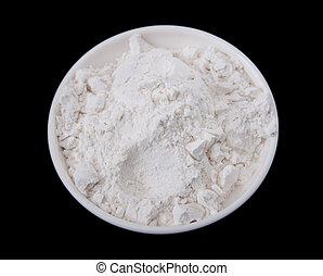 flour prep bowl - one small prep bowl full of fluffy white...