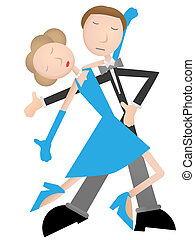 Couple dancing tango, blue dress an - Shy man and woman...