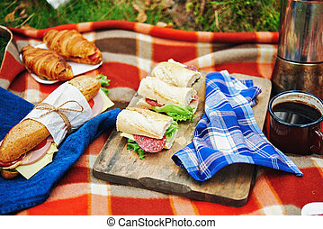 picnic at forest with sandwiches and croissant