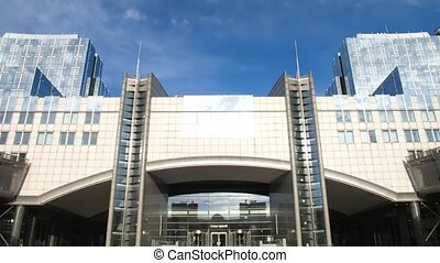 European Parliament. 25fps - Time lapse clouds over European...