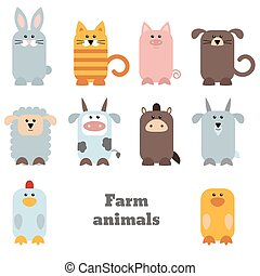 Set of cute farm animals on white background.