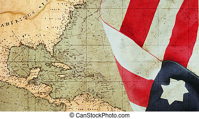 Columbus Day. Flag and Chart
