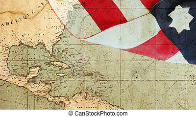 Columbus Day. Usa Flag and Chart - Columbus Day. Chart