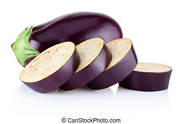 Fresh brinjal and sliced isolated on white background