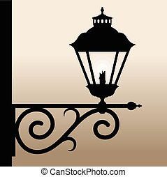 Vintage lantern. - Silhouette of an old lantern with a...