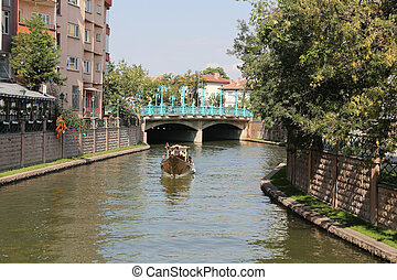 Porsuk River in Eskisehir - People in Gondola tour in Porsuk...