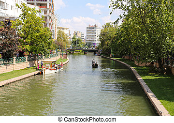 Porsuk River in Eskisehir - ESKISEHIR, TURKEY - SEPTEMBER...