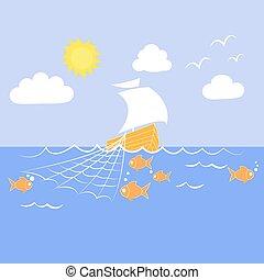 sailfish fishing nets - Vector drawing of a sailing ship...