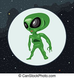 Digital vector green alien scary creature