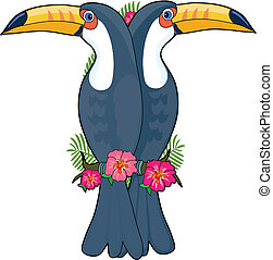 Animal Alphabet Toucan - A pair of toucans sitting on a...