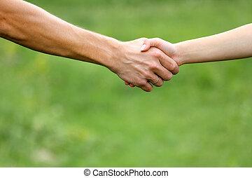 deux, mains, amants