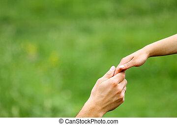 amants, deux, mains