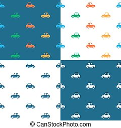 Seamless car pattern set for print textile design - Vector...