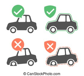 Vector graphic of protected and breakdown cars - Vector...