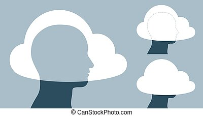 Vector illustration of clouds covering human heads against...