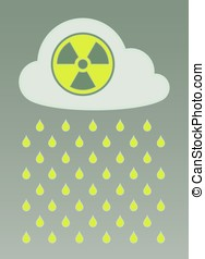 Cloud with radioactive icon and nuclear fallout - Vector...